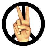 3D hand die vredesteken geeft Stock Fotografie