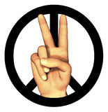 3D hand giving peace sign. On white Stock Photography
