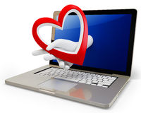 3d hand with a heart and laptop Stock Photography