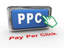 3d hand Pay per click button Royalty Free Stock Photography