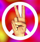 3D hand with peace sign. Tye-dye Royalty Free Stock Photo