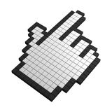 3d hand pixel icon. Black and white illustration Stock Photography