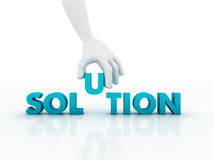 3d Hand and word Solution. Business concept Stock Images
