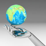 3d hands and global. 3d illustration hands and global Royalty Free Stock Photo