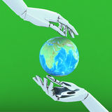 3d hands isolate on green background. 3d illustration hands isolate on green background Royalty Free Stock Image