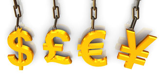 3d hanged currencies symbol Royalty Free Stock Images