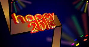 3d happy 2013 web banner. Three dimensional happy 2013 new year web banner Royalty Free Stock Photo