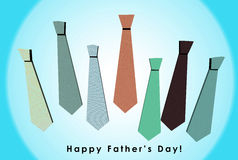 3D Happy Father's Day card with orange background. 3D Happy Father's Day card with a pattern of colorful ties on orange background Royalty Free Stock Image