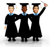 3D Happy graduates Stock Images