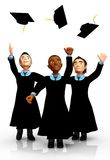 3D Happy graduates Stock Photos