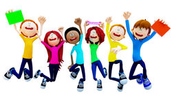 3D Happy group of students Royalty Free Stock Photography