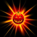 3D happy Halloween pumpkin. On black Royalty Free Stock Images