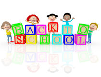 3D happy kids going back to school Stock Image