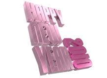 3D Happy New Year. Rendered in pink Royalty Free Stock Images