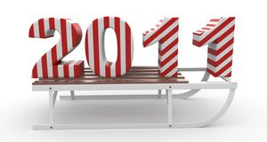 3d Happy New Year 2011 with sleigh. Isolated on white Royalty Free Stock Photos