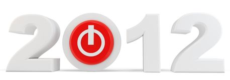 3d Happy New Year 2012 button. 3d Happy New Year 2012  button on white background Royalty Free Stock Photo