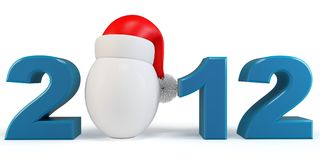 3d Happy New Year 2012  red hat Stock Image