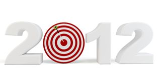 3d Happy New Year 2012  red target. 3d Happy New Year 2012 red target  on white background Stock Photography