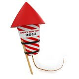 3d Happy New Year 2012 rocket. 3d Happy New Year 2012  rocket  on white background Royalty Free Stock Images
