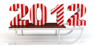 3d Happy New Year 2012 with sleigh. On white background stock illustration