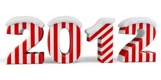 3d Happy New Year 2012 with snow. 3d Happy New Year 2012  with snow on white background Stock Images