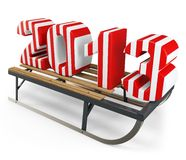 3d Happy New Year 2013 with sleigh. On white background Royalty Free Stock Image