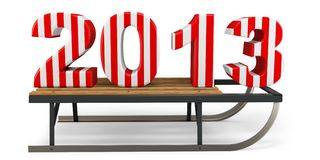 3d Happy New Year 2013 with sleigh. On white background Royalty Free Stock Photo