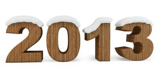 3d Happy New Year 2013 with snow Stock Images