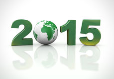 3d happy new year 2015 globe Stock Images