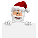 3D happy Santa with a banner Royalty Free Stock Photography