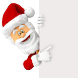 3D Happy Santa with a banner Stock Photo
