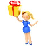 3D happy woman holding gift box, isolated on white Stock Photo