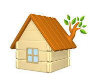 3d harmless house with an evolved branch on a roof Stock Photography
