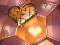 3D hart van de glasliefde in spiegels Stock Afbeeldingen