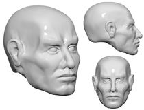 3D Head of man. Illustration is a 3d model  of plastic human head Royalty Free Stock Image