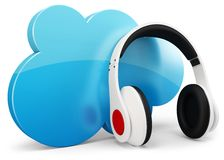 3d headphone with cloud Stock Photography