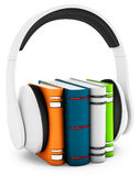 3d headphones with books audio-book concept Stock Photo