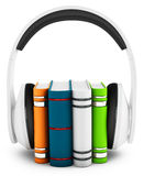 3d headphones with books audio-book concept Stock Photography
