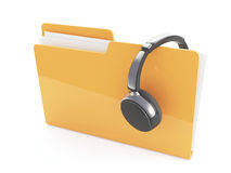 3d headphones and folder Royalty Free Stock Photos
