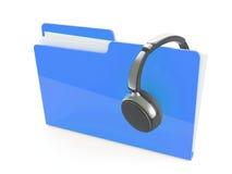 3d headphones and folder Stock Photo