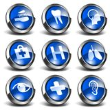 3D Health and Medical Icons Set 2. 3D health and medical related blue round shiny icons Royalty Free Stock Photo