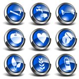 3D Health and Medical Icons Set 3. 3D Health and medical related blue round shiny icons Stock Photography