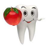 3d healthy white tooth giving a red apple stock images