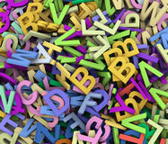 3d heap of alphabets. 3d render of abstract background of colorful alphabets Royalty Free Stock Photo
