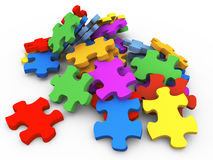 3d heap of puzzle pieces Royalty Free Stock Images