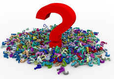 3d heap of question marks Royalty Free Stock Photo