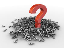 3d heap of question marks. 3d render of heap of question marks with one big red question mark royalty free illustration