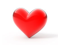 3d heart. Glossy 3d red heart on white background Stock Photography