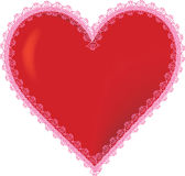 3D Heart. A 3D heart with a frilly pink border Royalty Free Stock Images