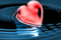 3d heart. Red heart in water - illustration Royalty Free Stock Photo